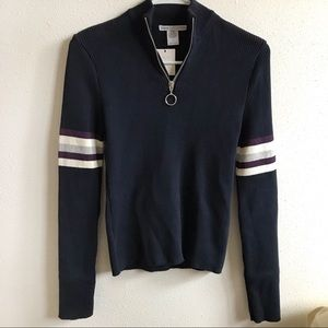 Urban Outfitters Ribbed Navy Quarter Zip Sweater